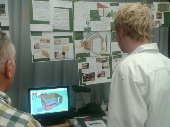 Callum Bradbury shows Jeff his Computer-Aided Design drawing.