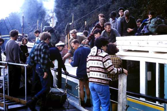 A boat with Otago Tramping Club members at Milford Track in 1965.