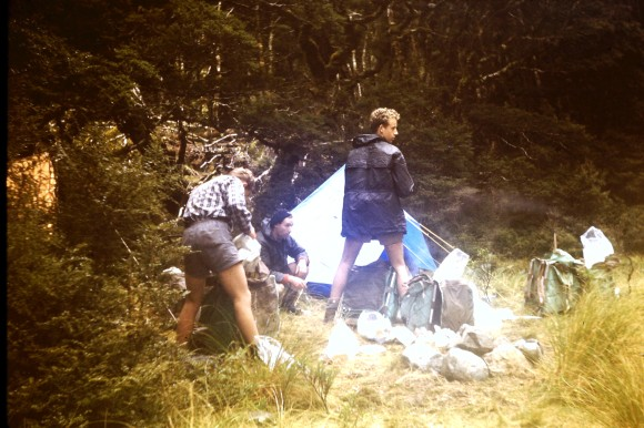 Campsite set up in the Clinton Valley along the Milford Track.
