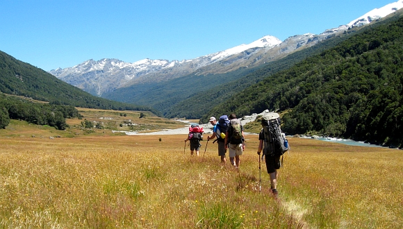 Tramping in the Dart Valley. Photo: Keith Miller.