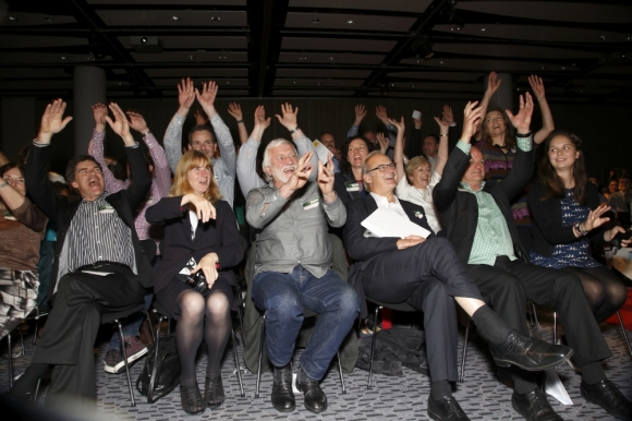 A star-studded audience celebrate the Outlook for Someday award winners.