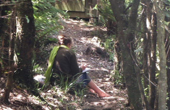 Felicity sketching amongst the native bush.