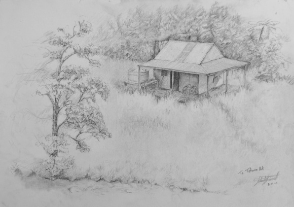 A drawing of Te Totara Hut in the Te Urewera National Park.