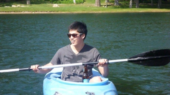 Yang kayaking on Lake Arrowhead.