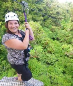 Preparing to take a leap of faith at Rotorua Canopy Tours.