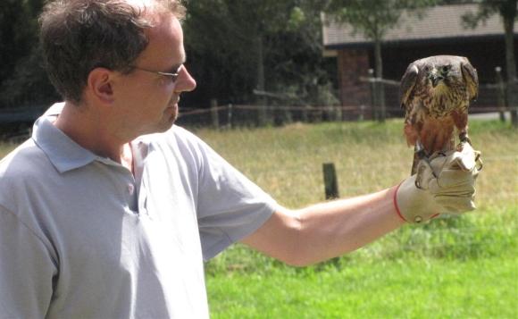 Nic holding a falcon at Wingspan in Rotorua.