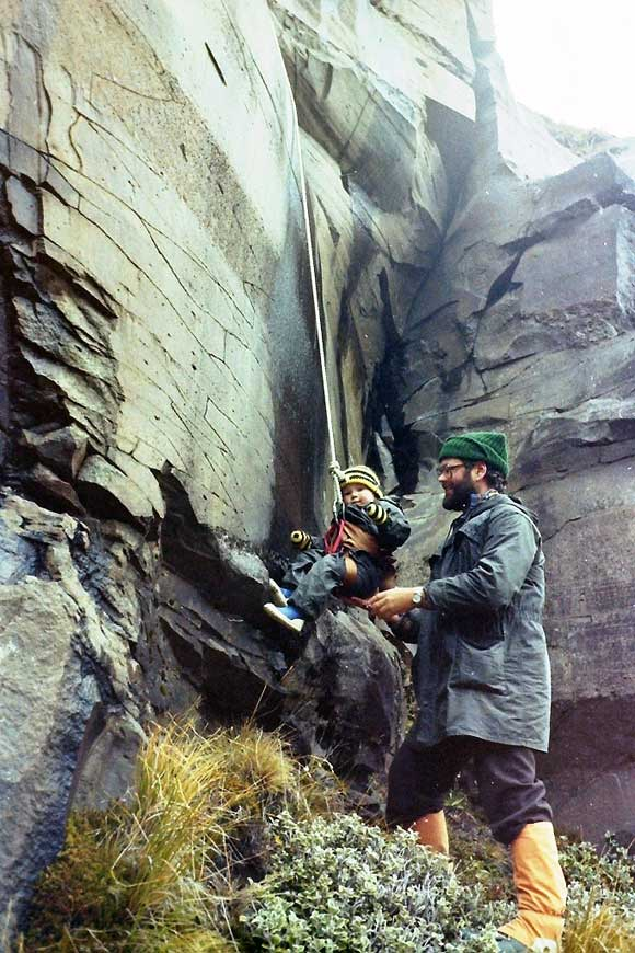 My awesome parents got me outdoors  right from the beginning! Here's dad  taking me abseiling at Mt Ruapehu  when I was two
