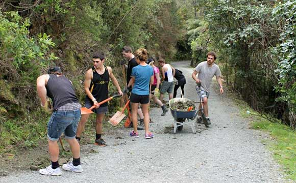 Outward Bound volunteers improving the road.