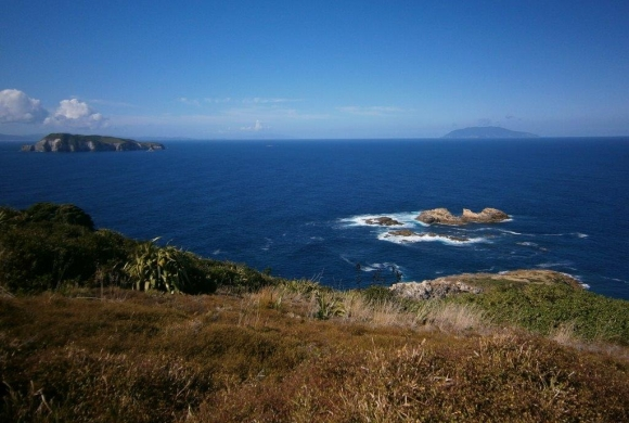 Left, Fanal Island with Aotea (Great Barrier) behind, and Hauturu (Little Barrier) to the right.  From Pokohinu in the Mokohinau group.