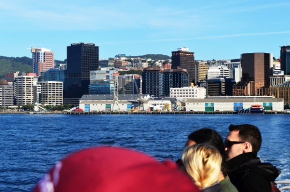 On the ferry with Wellington City in the background.