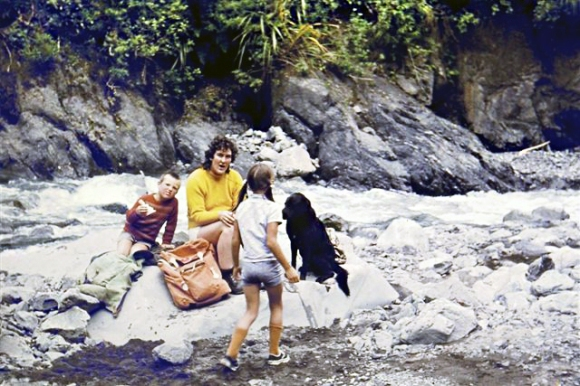 Lunch in the Pourangaki with Toby, the dog, Kathleen and Ted, about 1974