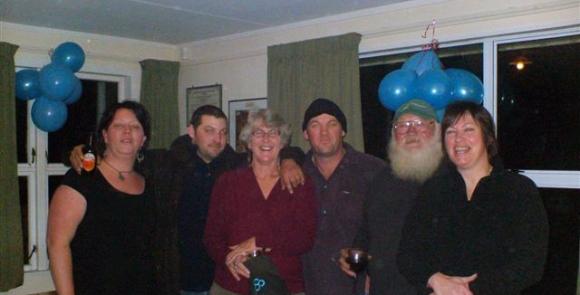 With Henry and four of our six children at my 60th. From L to R Sara, Bill, myself, Ted, Henry, Kathleen
