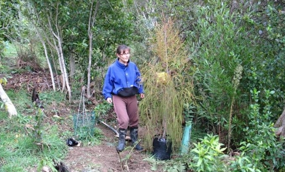 Kirsten Ralph planting some trees.
