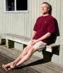 Avi Holzapfel in the sun on Rangatira Island, Chatham Islands.