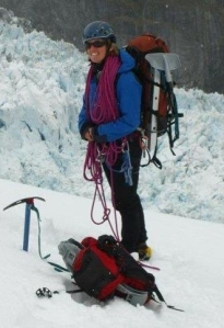 Cornelia guiding on Fox Glacier.
