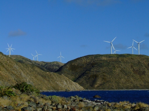 Wind turbines on the hills of Makara.