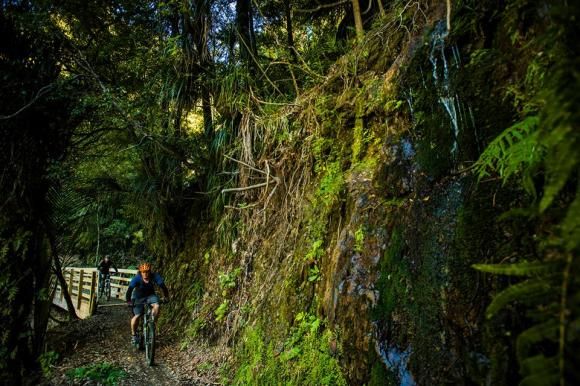 Riding the Pakihi. Photo copyright Motu Trails Cycleway.