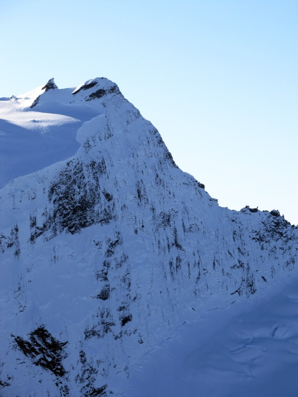 The east face of Popes Nose, Mt Aspiring. Photo: Guy McKinnon.