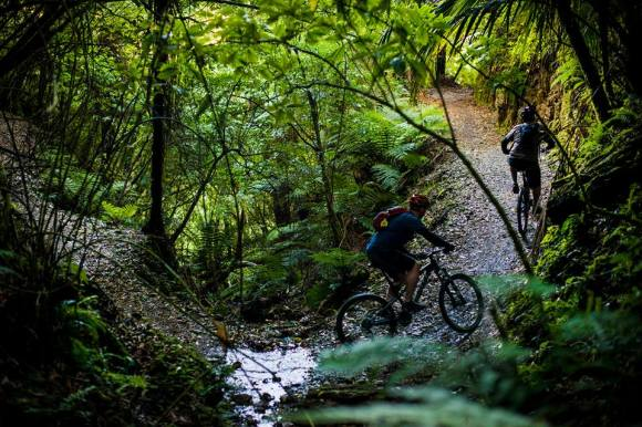 Riders on the Pakihi. Photo copyright Motu Trails Cycleway.