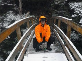 Putting new netting and boards on a bridge near Rangiwahia Hut