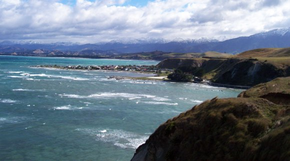 Kaikōura with marine reserve in the background.