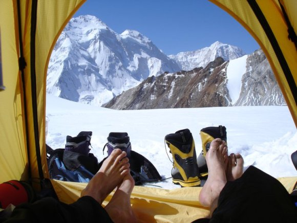 Kicking back in the Tian Shan. Photo: Guy Mckinnon.