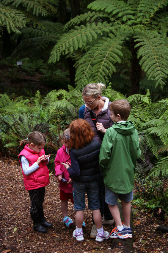 Angeline and four children in the bush, with phones, at Otari-Wilton's Bush.
