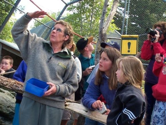 Carol leading a tour of the Te Anau Wildlife Park.