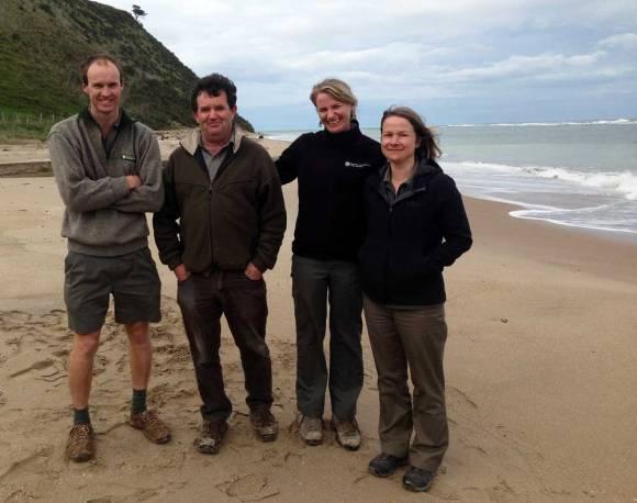 Don McLean, Jamie Quirk, De-Arne Sutherland, Rebecca Lander at Te Tapuwae o Rongokako Marine Reserve.