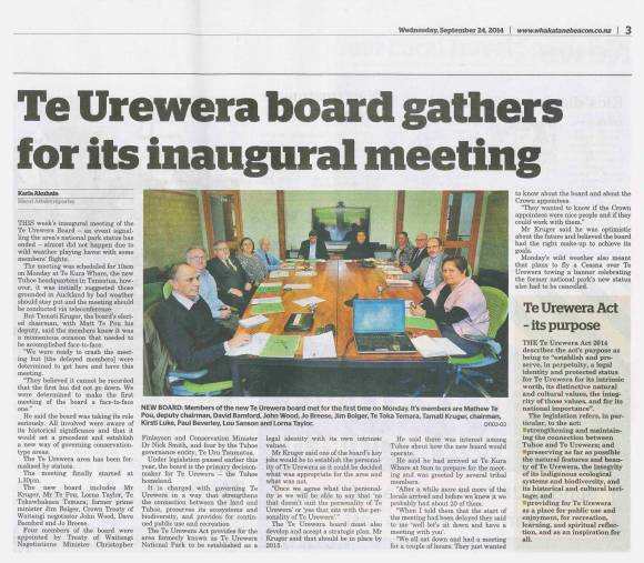 First meeting of Te Urewera Board (Whakatane Beacon)