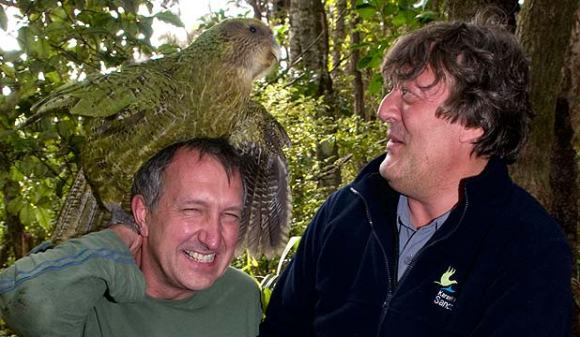 Sirocco on Mark Carwardine's head with Stephen Fry.