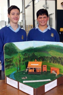 Tararua College students, Ethan Barnes and Jamie Baxter, with their miniature backcountry hut.