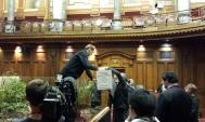 Sirocco making his way into his Parliamentary lodgings.