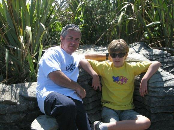 Andrew and his son Jamie at Punakaiki.