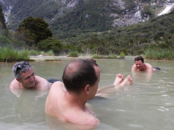 Andrew and colleagues enjoying the hot pools on the Copland Track.