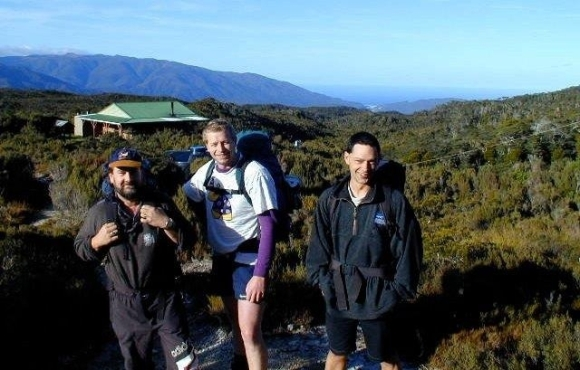 I'm on the Heaphy Track (centre) with Dean Van Meirlo (right) and Phil Rutherford (left).