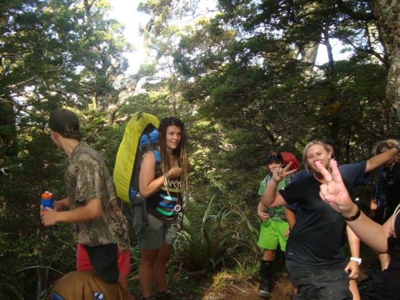 Emma and friends tramping in forest at Mount Arthur.