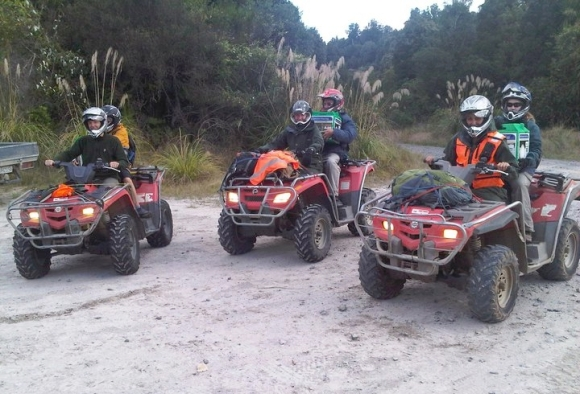 People carrying kiwis in Tongariro Forest on ATVs.