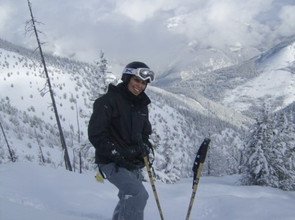 Renee skiing in Canada.