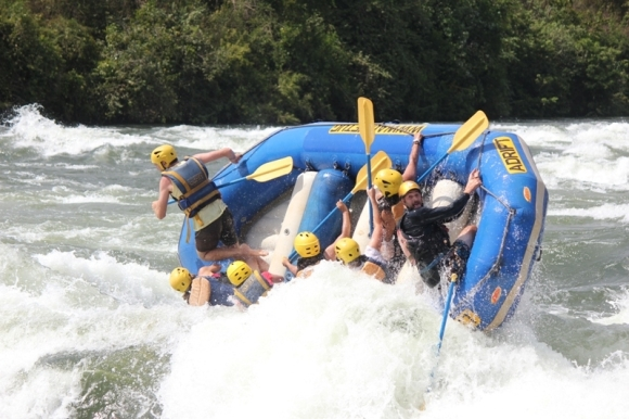 White water rafting on the Nile river.