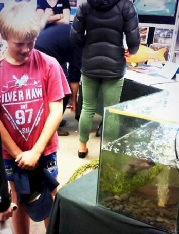 Student next to a water tank with Elvis the eel.