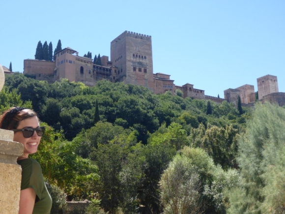 Amy outside of La Alhambra in Granada, Spain.