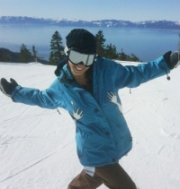 Amy Brasch hanging out in the snow.