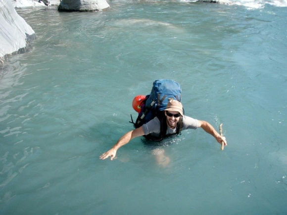 Stephen up to his chest in the Landsborough River. South Island. New Zealand. Photo: R.Dunn.