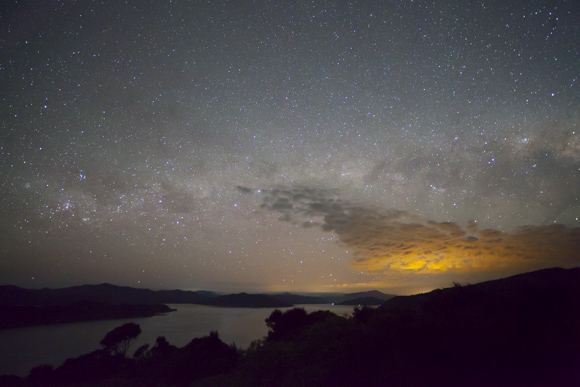 Lights of Picton at night, from the summit of Motuara Island.