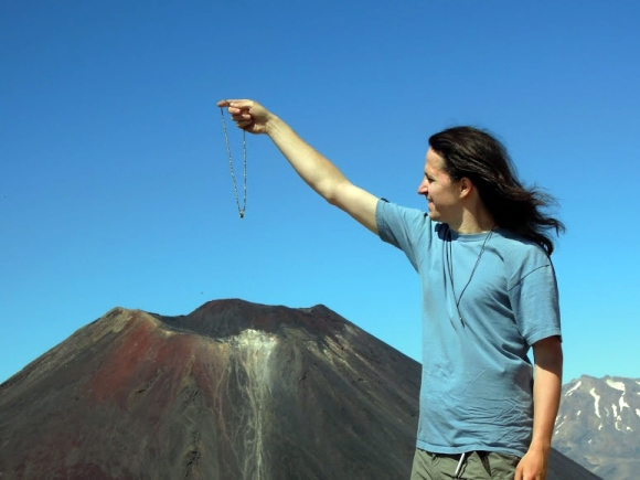 Lukasz re-enacting Lord of the Rings at Mount Tongariro.