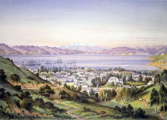 The Wellington Harbour, 1875 by New Zealand artist Charles Decimus Barraud.