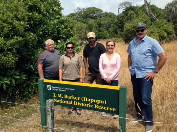 At Hapupu with Hokotehi Moriori Trustees. From left: Tom Lanauze, Connie Norgate, Justin Maxwell, Susan Thorpe and me.