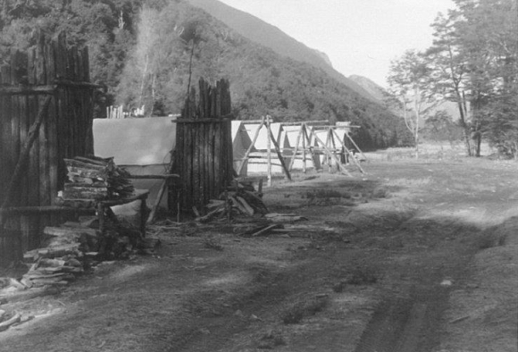 Hunter training camp at Dip Flat,1960-63 (note the wooden chimneys).