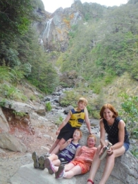 Nina and her children at Waitonga Falls.